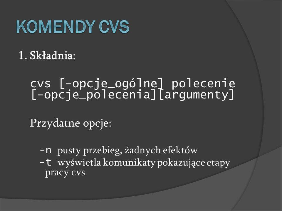 Komendy cvs 1. Składnia: cvs [-opcje_ogólne] polecenie [-opcje_polecenia][argumenty] Przydatne opcje:
